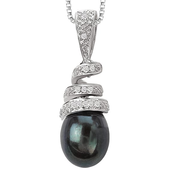14k white gold Tahitian pearl and diamond necklace