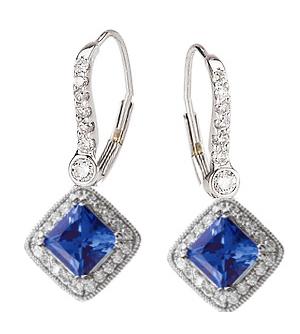 Custom blue sapphire and diamond dangle earrings