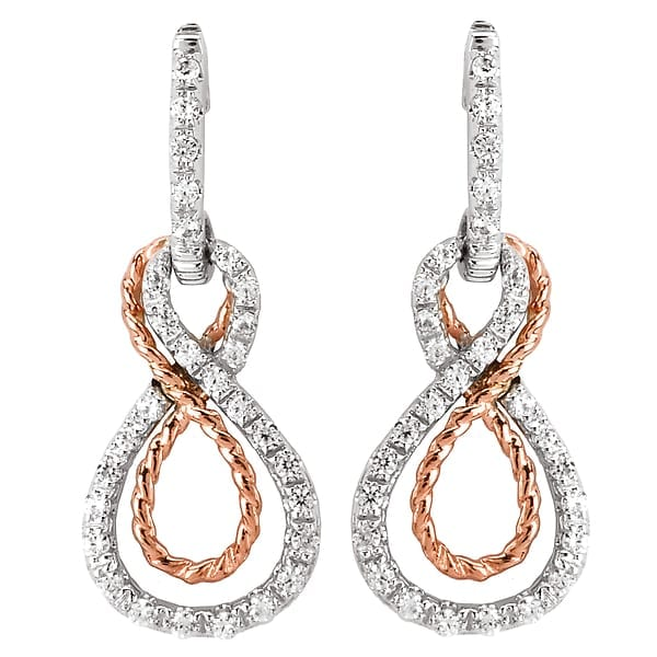 14k white and rose gold diamond dangle earrings with rope design