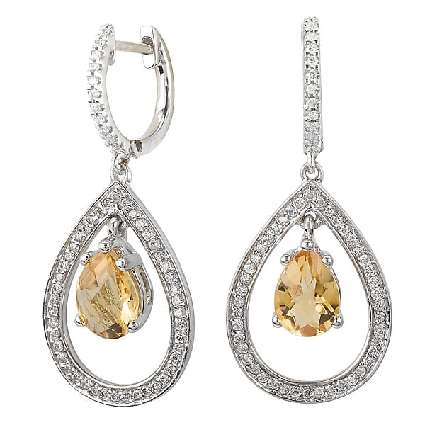 14k gold citrine and diamond earrings