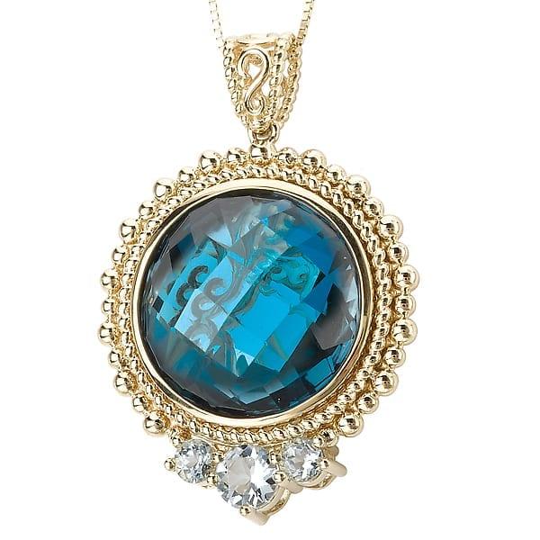 14k blue topaz pendant