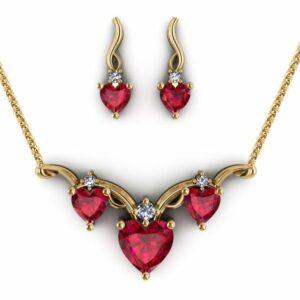 3-stone ruby heart necklace and earrings set