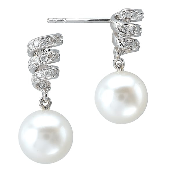 14k diamond and pearl earrings
