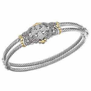 Sterling silver and diamond bracelet