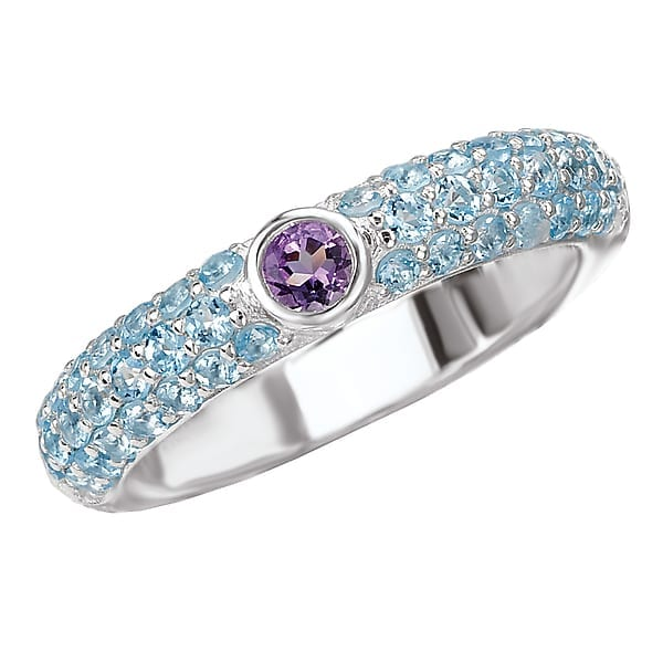 Sterling silver ring with amethyst and blue topaz
