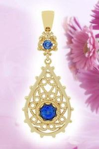 18k yellow gold custom blue sapphire pendant