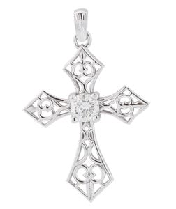 White gold filigree cross with diamond center