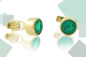 Custom Chatham emerald cuff links