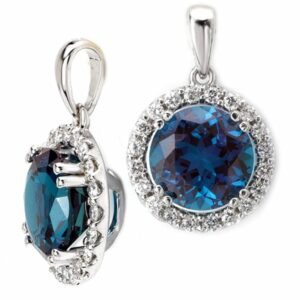 Diamond halo pendant with round Chatham alexandrite center