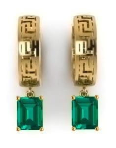 Lab grown emerald cut emerald hoop earrings