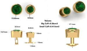 CAD for emerald button studs and cuff links