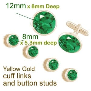 Mock Up for emerald button studs and cuff links