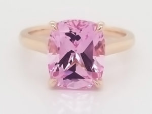 18K Rose gold engagement ring with 11x9mm Chatham created antique cushion pink champagne sapphire