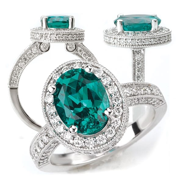 Chatham Seafoam Garnet & Diamond Halo Engagement Ring