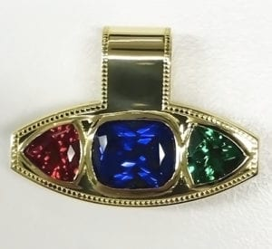 18k yellow gold ruby, sapphire and emerald pendant slide