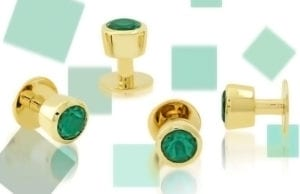 Custom Chatham emerald button studs