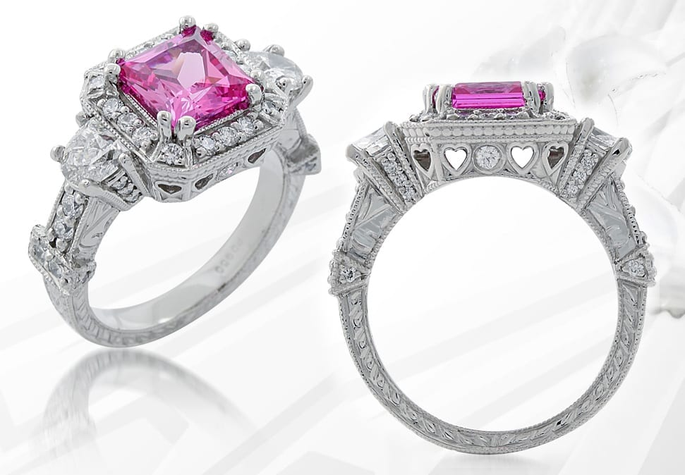 Finished Pink Sapphire & Diamond Engagement Ring