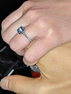 Round Aqua Spinel Engagement Ring