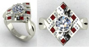 CAD of ruby and diamond ring