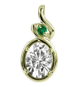 14k gold moissanite and emerald pendant