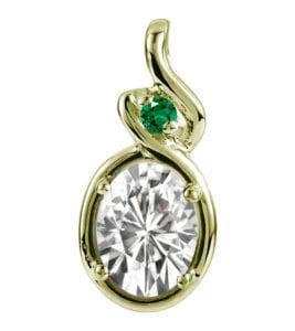 14k gold moissanite and emerald pendant
