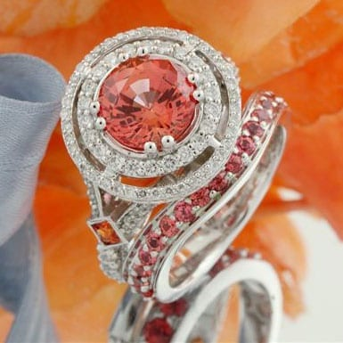 Padparadscha & Diamond Bridal Set