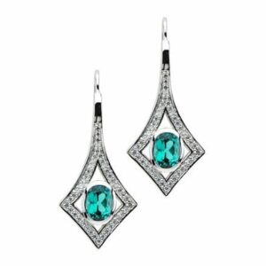 Chatham Seafoam Garnet Earrings With Diamond Accents