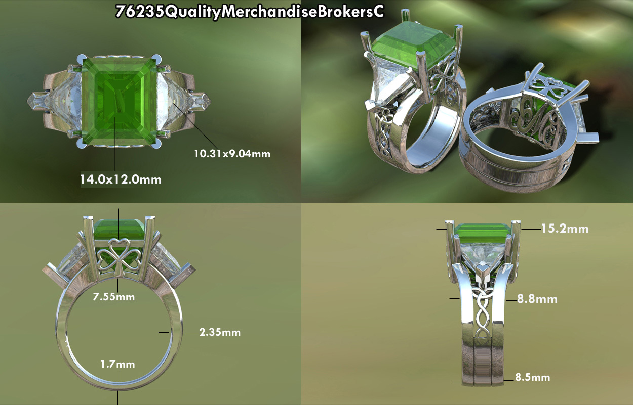 Celtic Emerald Cut Emerald Engagement Ring