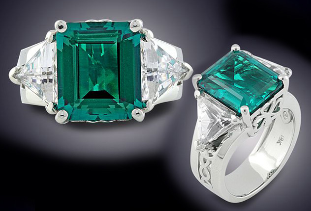 Finished Celtic Emerald Engagement Ring