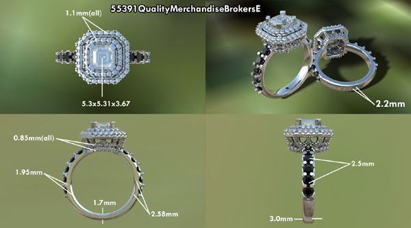 Black and colorless diamond engagement ring